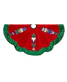 48-inch Velvet with Nutcracker Design Tree skirt