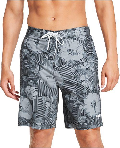 "Speedo Men's Bondi Ombré Gradient Floral 2-Way Stretch UPF 50+ 9"" Board Shorts"