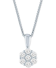 "Lab-Created Diamond Cluster 18"" Pendant Necklace (1/4 ct. t.w.) in Sterling Silver"