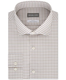 Men's Slim-Fit Non-Iron Airsoft Performance Stretch Check Dress Shirt
