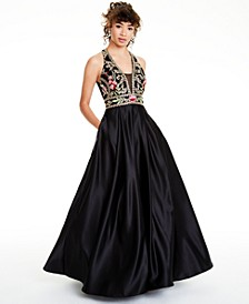 Juniors' Embellished Floral-Appliqué Gown