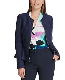 Faux-Suede Zip-Front Peplum Jacket