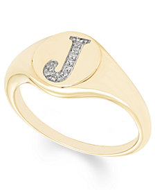 Diamond Accent Initial Signet Ring in 14k Yellow Gold