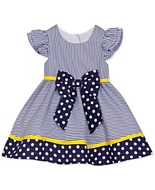 Baby Girls Dot-Print Striped Dress