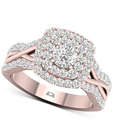 Diamond Double Halo Twist Engagement Ring (1-1/6 ct. t.w.) in 14k Rose Gold