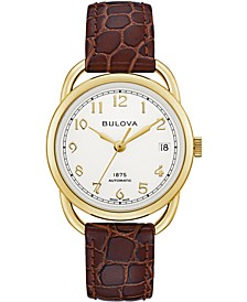 LIMITED EDITION Women's Swiss Automatic Joseph Bulova Brown Leather Strap Watch 34.5mm