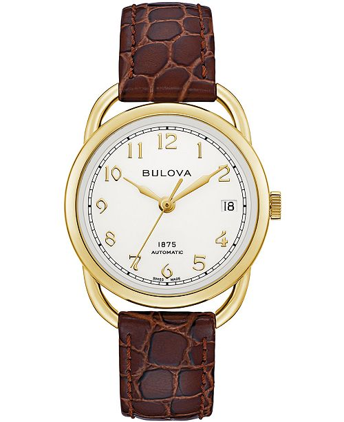 Bulova LIMITED EDITION Women's Swiss Automatic Joseph Bulova Brown Leather Strap Watch 34.5mm