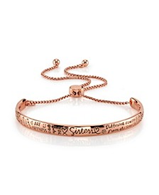 "Rose Gold Tone ""Sisters"" Adjustable Bolo Bracelet in Stainless Steel with Silver Plated Charms"