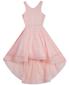 Rare Editions Big Girls Glitter-Stretch-Lace High-Low Dress