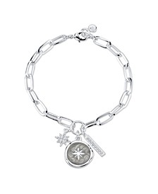 Silver Plated Star Coin Charm Link Bracelet