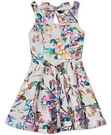 Big Girls Metallic Floral-Print Skater Dress