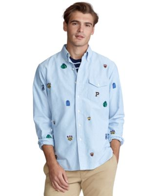 Polo Ralph Lauren Men/'s Blue Classic Fit All Over Embroidered  Button Down Shirt