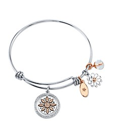 """Live Laugh Love"" Flower Bangle Bracelet in Stainless Steel & Rose Gold-Tone with Silver Plated Charms"