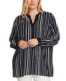 Plus Size Plain View Striped Split-Neck Tunic
