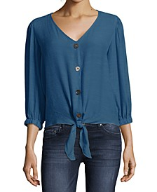 Tie Front Blouse with Button Front