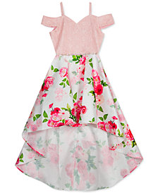 Rare Editions Big Girls Lace & Floral-Print High-Low Dress