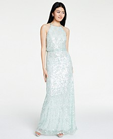 Juniors' Sequined Halter Blouson Gown