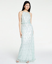 B Darlin Juniors' Sequined Halter Blouson Gown