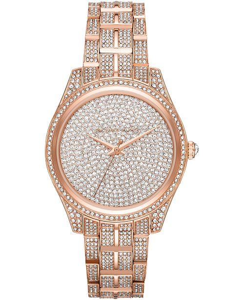 Michael Kors Women's Lauryn Rose Gold-Tone Stainless Steel Bracelet Watch 38mm