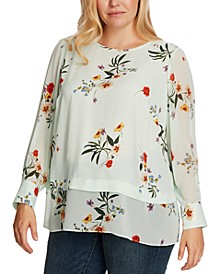 Plus Size Surreal Garden Chiffon Mixed-Media Blouse
