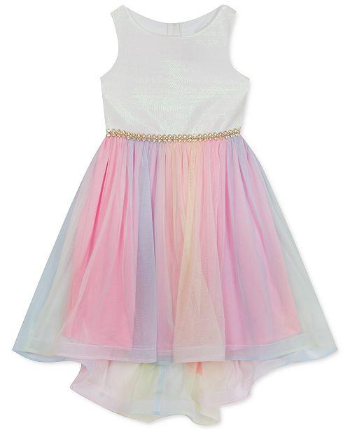 Rare Editions Little Girls Iridescent-Bodice Mesh-Skirt High-Low Dress