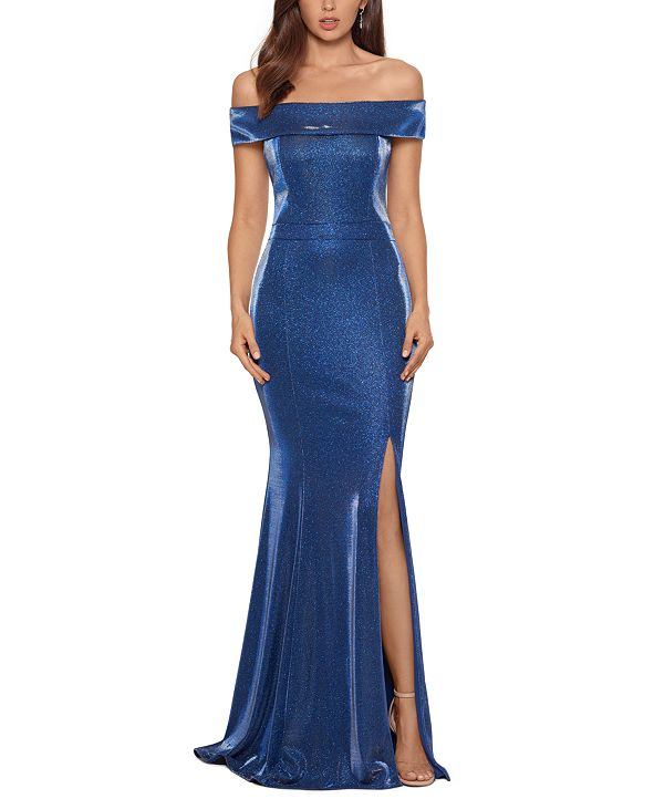 XSCAPE Metallic Off-The-Shoulder Gown