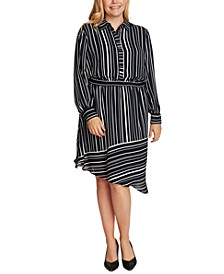 Plus Size Striped Asymmetrical-Hem Shirtdress