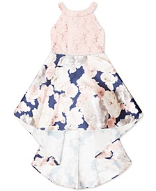 Big Girls Lace & Floral-Print High-Low Dress