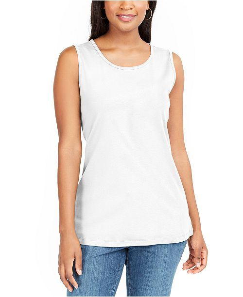 Karen Scott Petite Cotton Tunic Tank Top, Created For Macy's