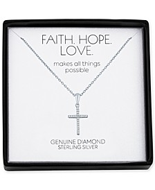"Diamond Accent Cross 18"" Pendant Necklace in Sterling Silver"