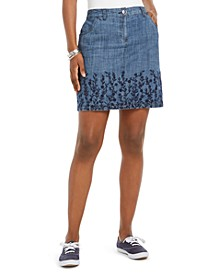 Embroidered Denim Skort, Created for Macy's