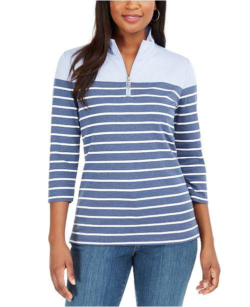 Karen Scott Striped 3/4-Sleeve Zip-Neck Top, Created For Macy's