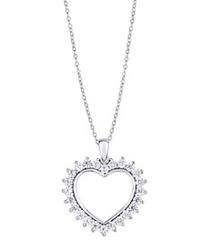 Cubic Zirconia Outlined Heart Pendant Necklace in Fine Silver Plate