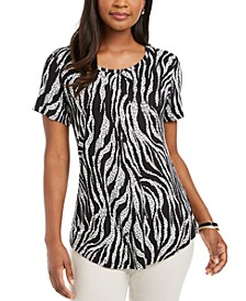 Scoop-Neck Damask Top, Created for Macy's