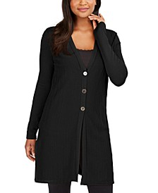 Ribbed Button-Front Duster Cardigan, Created for Macy's