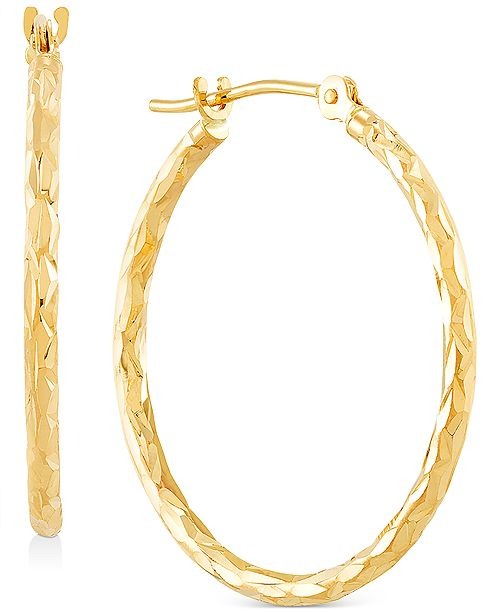 Macy's Small Textured Tube Hoop Earrings in 10k Gold