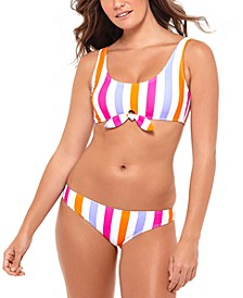 Juniors' Tie-Front Bikini Top & Bottoms, Created for Macy's