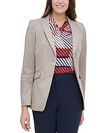 Elbow-Padded Flap-Pocket Blazer