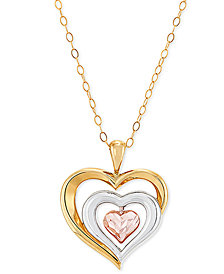 "Tricolor Heart 18"" Pendant Necklace in 10k Gold, Rose Gold & White Rhodium-Plate"