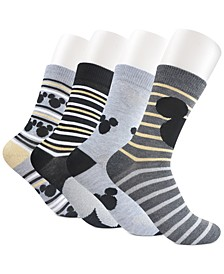 Women's 4-Pk. Mickey Mouse Sparkle Icon Crew Socks