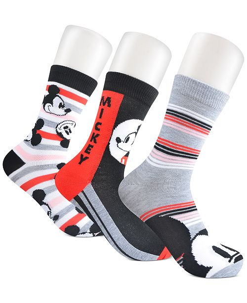 Planet Sox Women's 3-Pk. Mickey Mouse Crew Socks