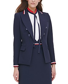 Wing-Lapel Double-Breasted Blazer