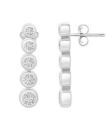 Diamond (1/4 ct. t.w.) Miracle Plate Graduate Earrings in Sterling Silver