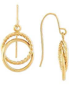 Interlocking Circle Drop Earrings in 14k Gold