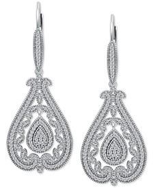 Diamond Filigree Teardrop Drop Earrings (1/2 ct. t.w.) in Sterling Silver