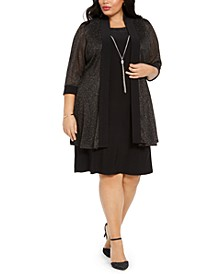 Plus Size Shift Dress & Metallic Jacket