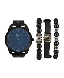 Men's Black Analog Quartz Watch And Holiday Stackable Gift Set