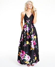 Juniors' Floral-Print Cross-Back Gown, Created for Macy's