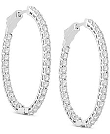 Diamond Oval In & Out Medium Hoop Earrings (3 ct. t.w.) in 14k White Gold, 1.56""