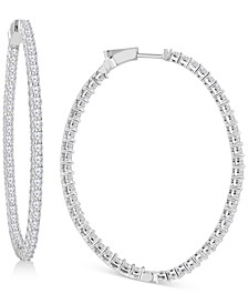 Diamond Large In & Out Hoop Earrings (9 ct. t.w.) in 14k White Gold, 2.51""